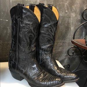 Tony Lama Black Polished Lizard Skin Western Boots